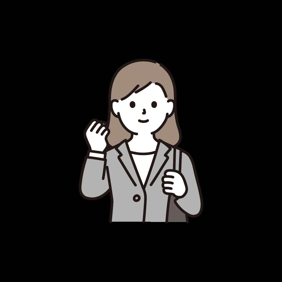 ガッツポーズをする新入社員(女性)