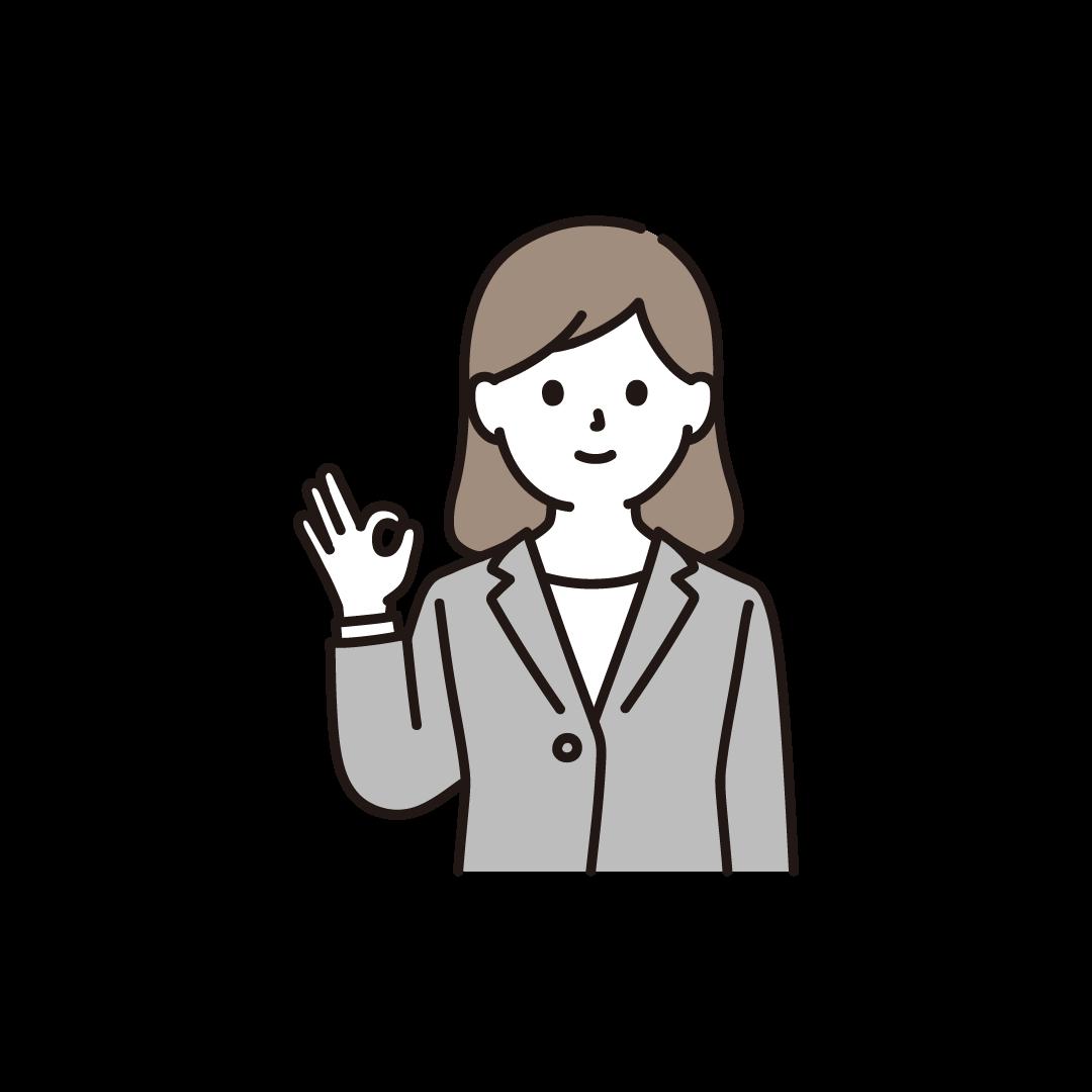 OKポーズをとる女性