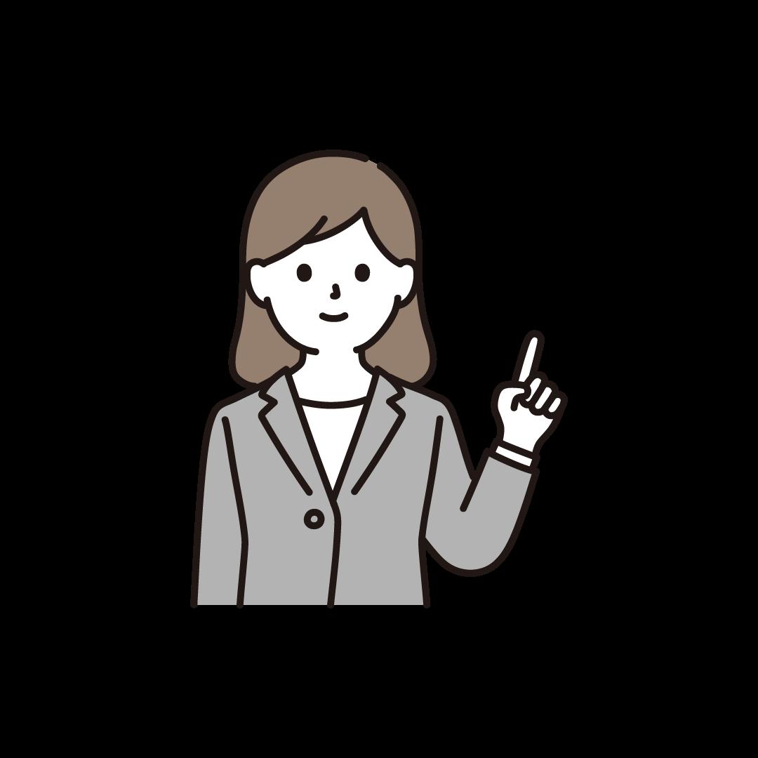 指をさすビジネスパーソン(左手)のイラスト