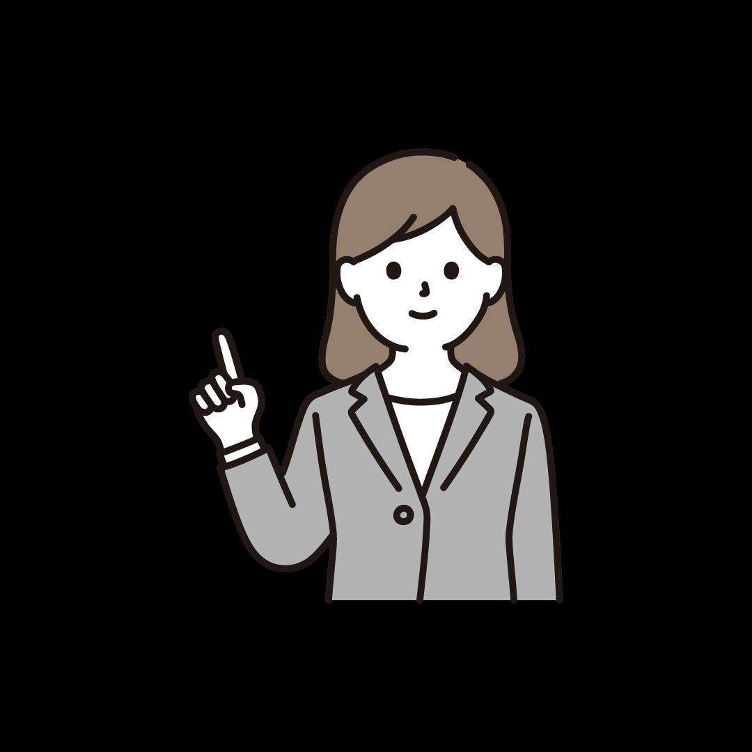 指をさすビジネスパーソン(右手)のイラスト