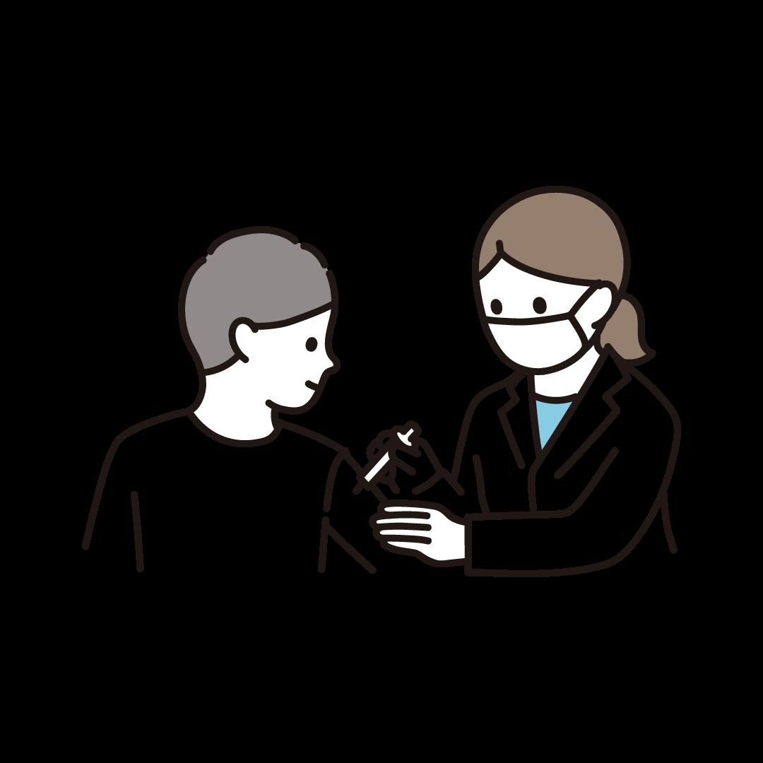 ワクチン・予防接種を受ける男性
