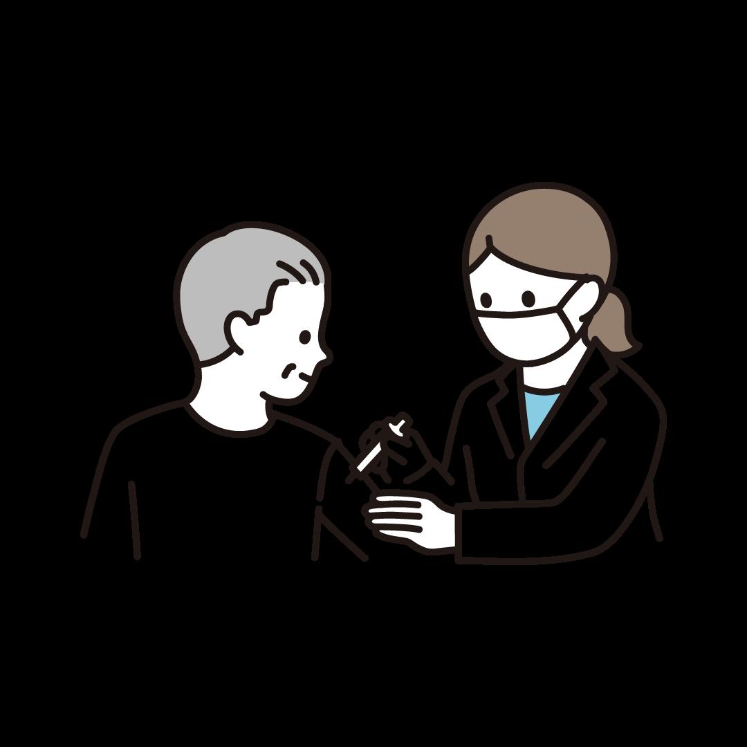 ワクチン・予防接種を受ける年配男性