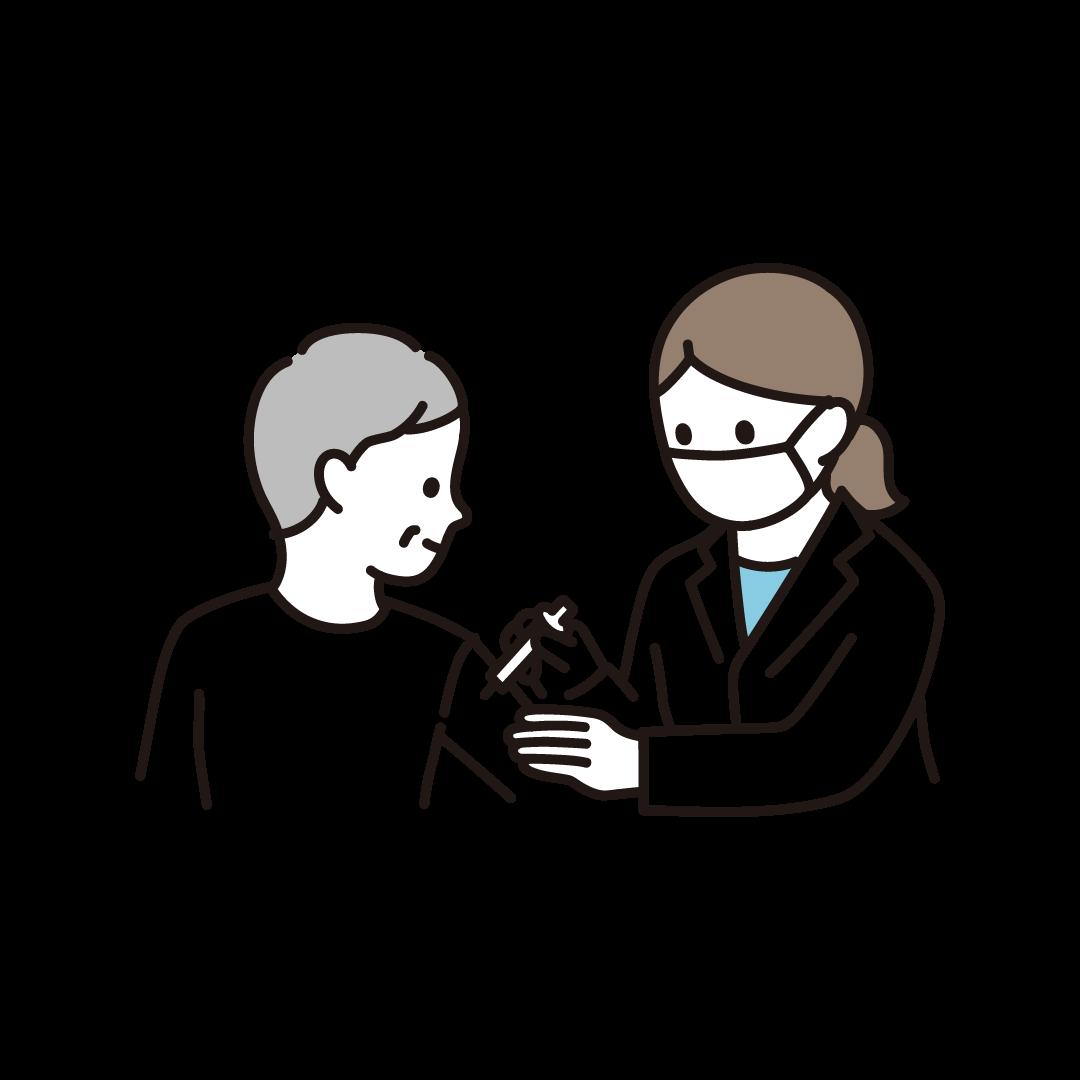 ワクチン・予防接種を受ける年配女性