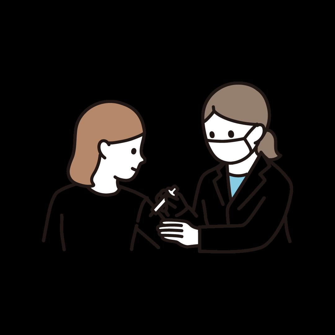 ワクチン注射を受ける女性のイラスト