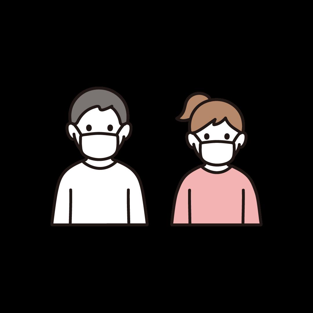 マスクをする男女(子ども)のイラスト