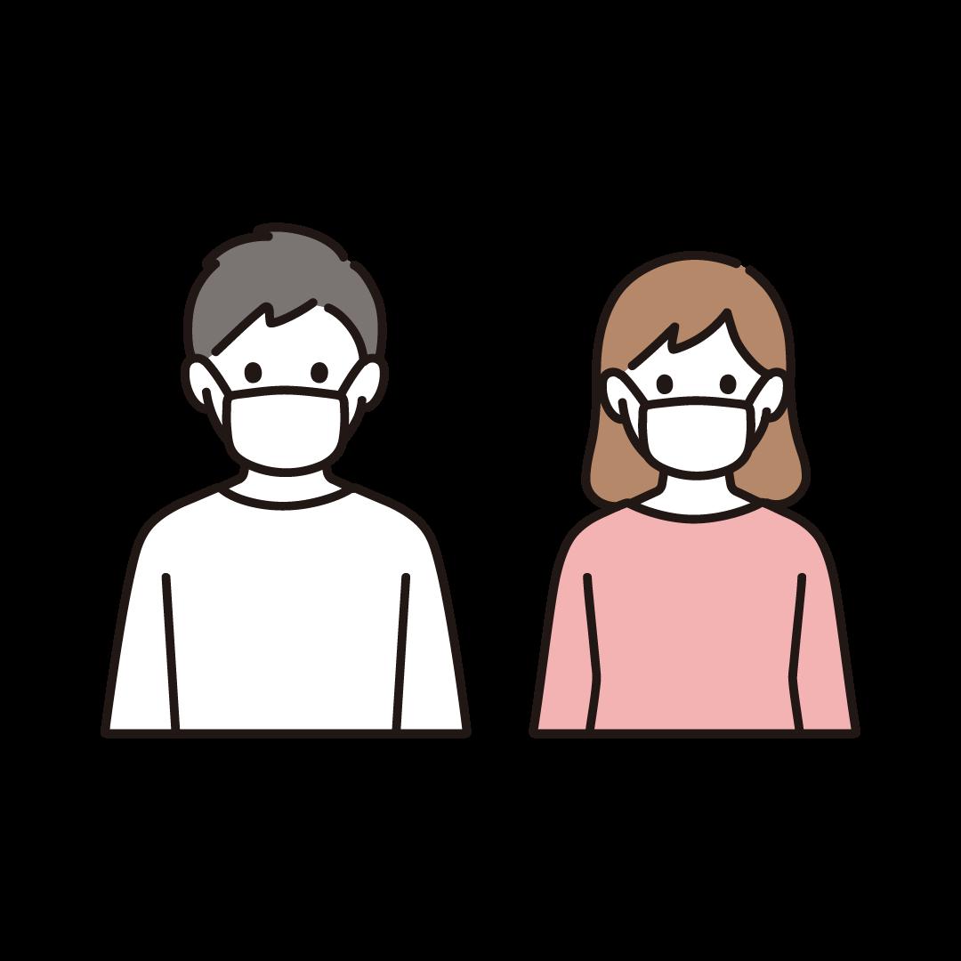 マスクをする男女のイラスト
