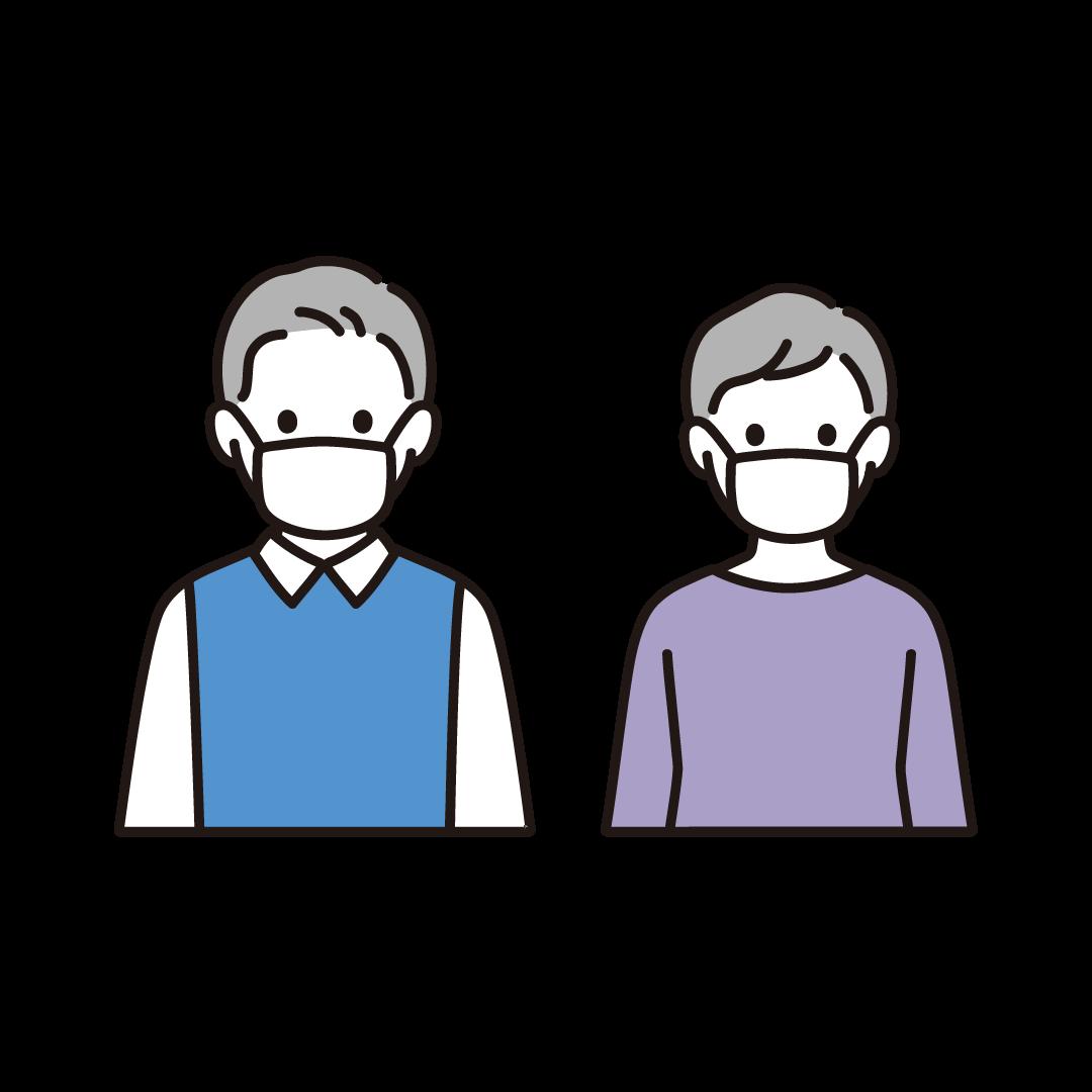 マスクをするご年配の男女のイラスト