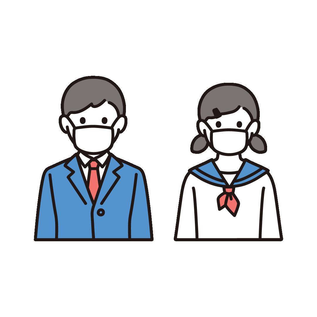 マスクをする男女(学生)のイラスト