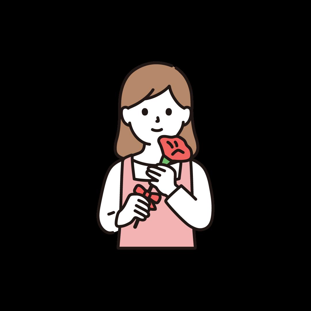 母の日(お母さんとカーネーション)のイラスト
