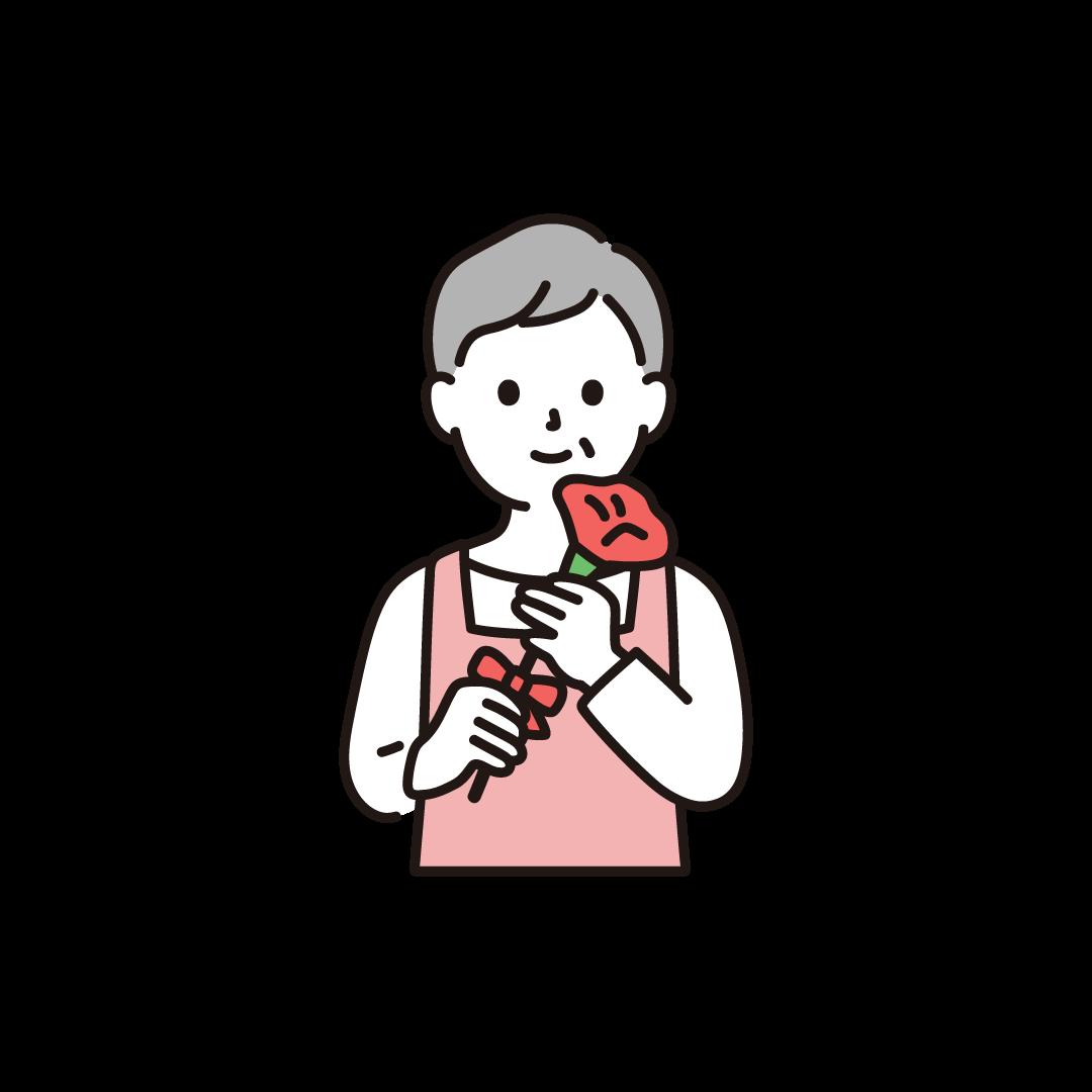 母の日(高齢の母とカーネーション)のイラスト