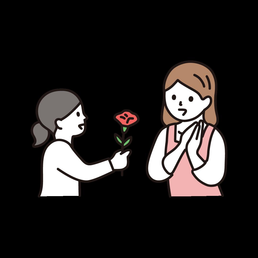 お母さんに花をプレゼントする子どものイラスト