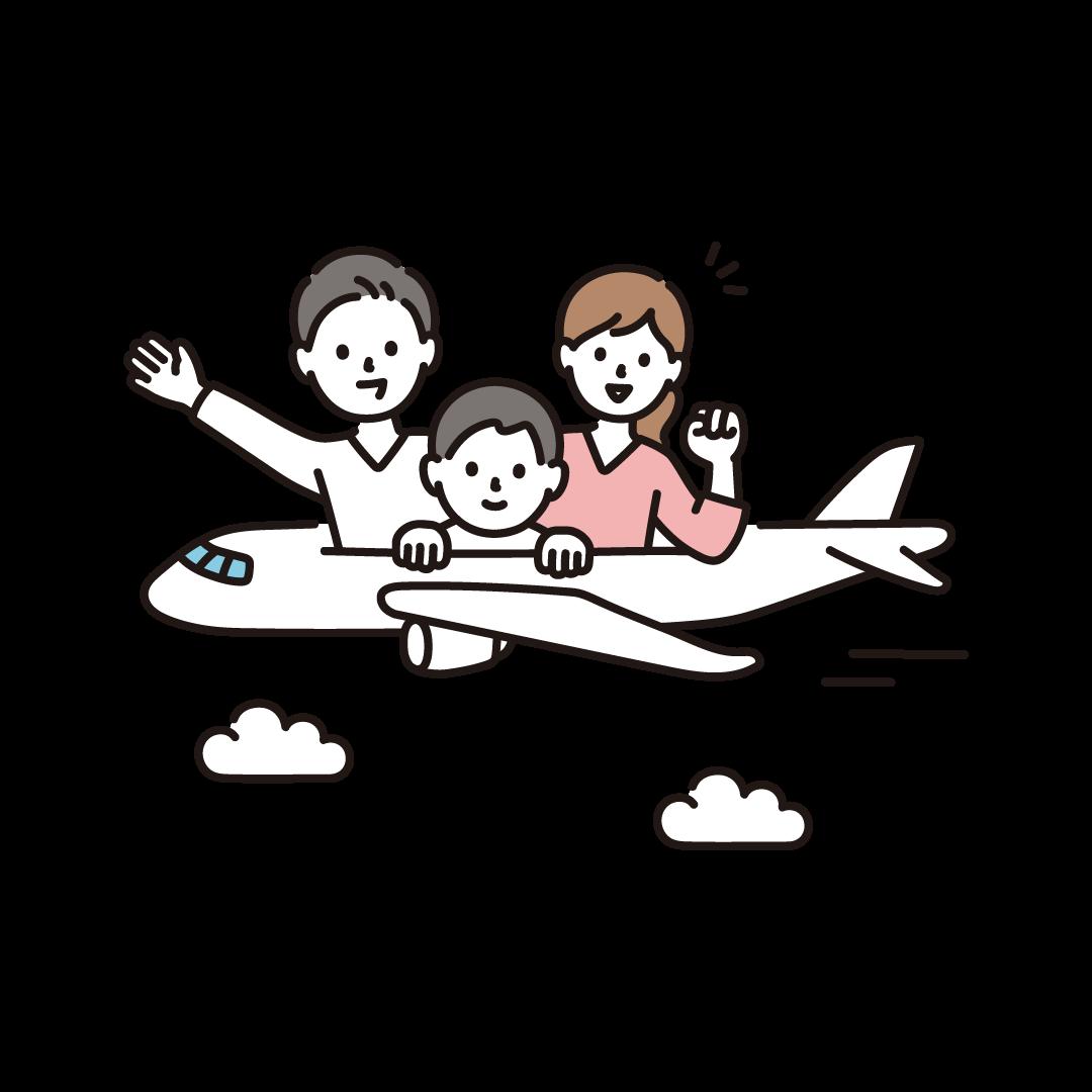 旅行(飛行機)のイラスト
