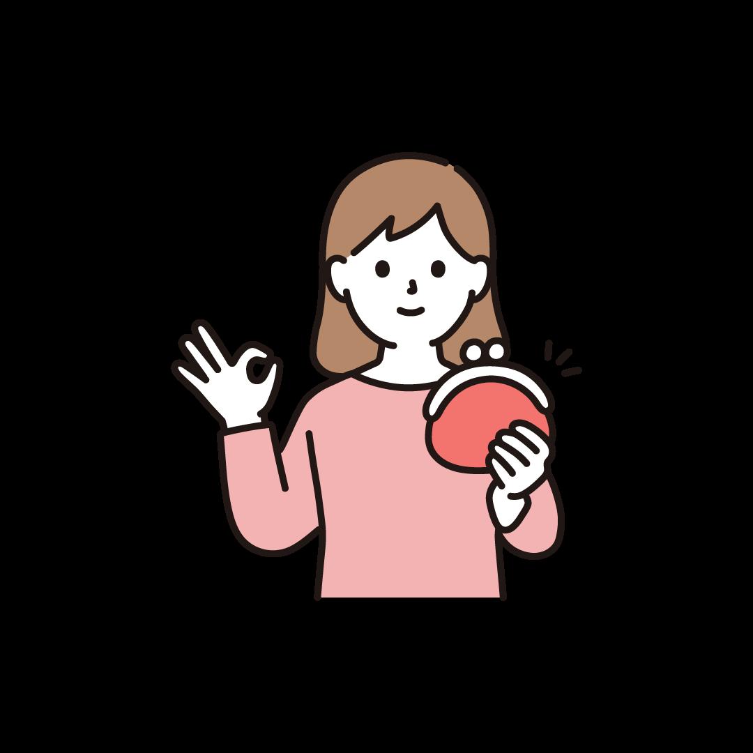 財布をもつ女性のイラスト