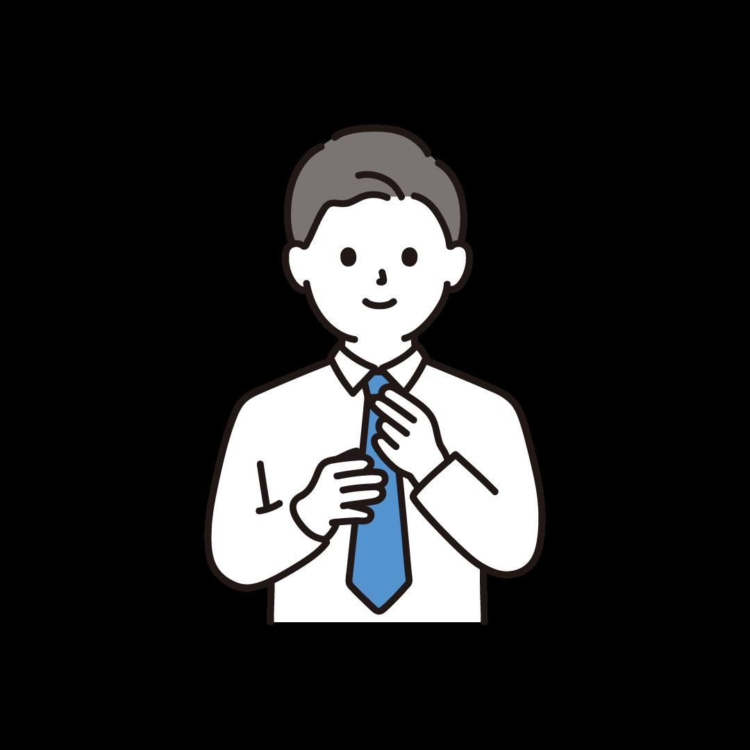 ネクタイをするお父さんのイラスト