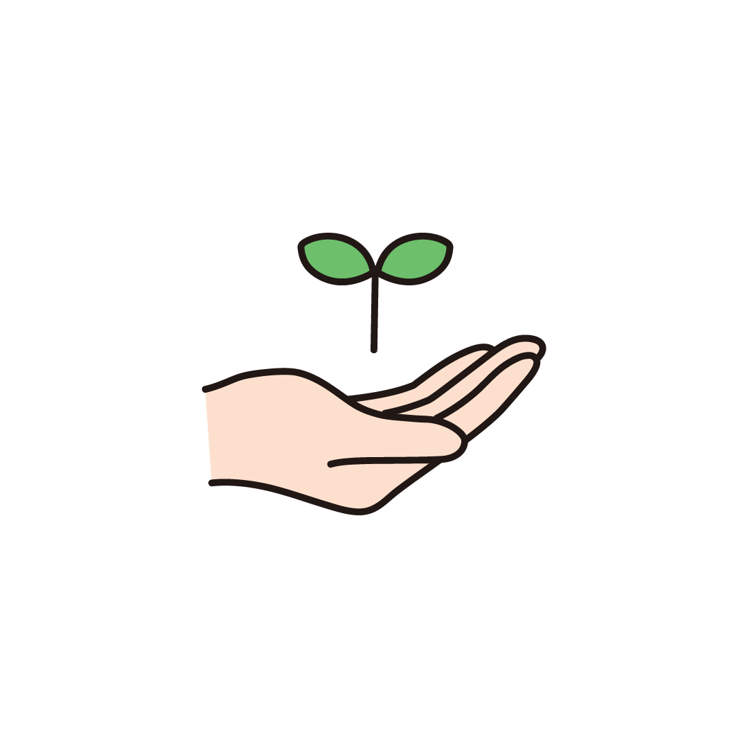 手と葉のイラスト