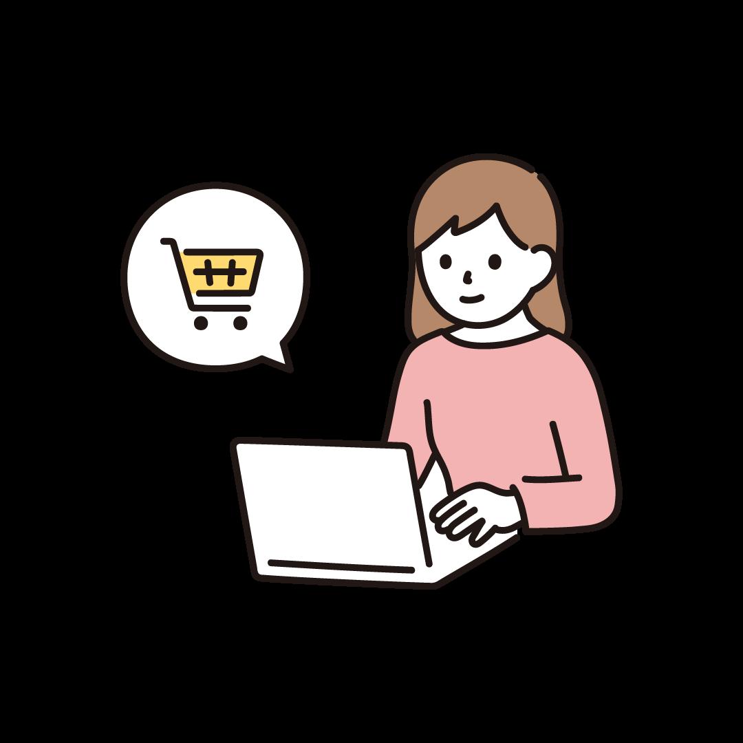 PCで買い物する女性のイラスト