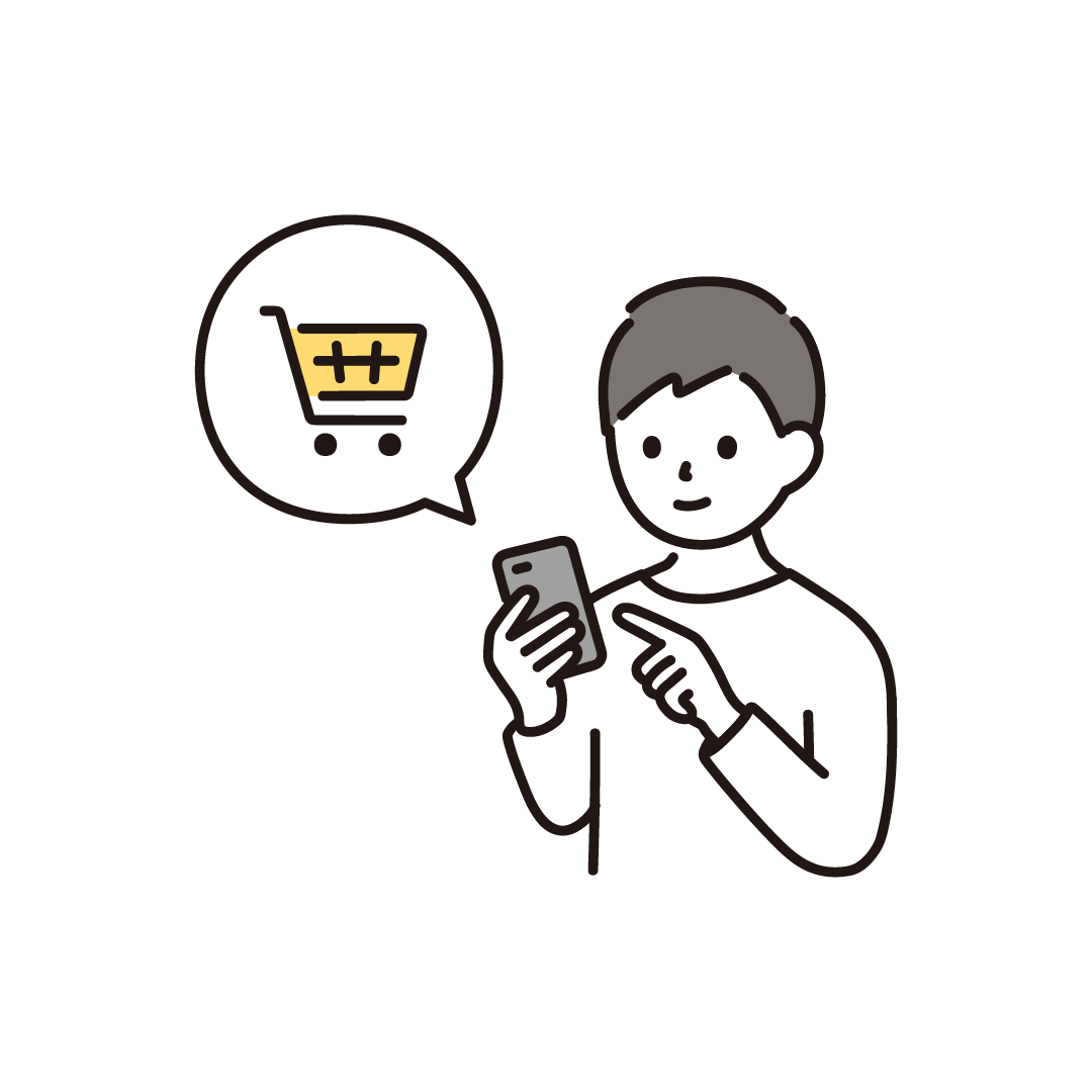 スマホで買い物をする男性のイラスト