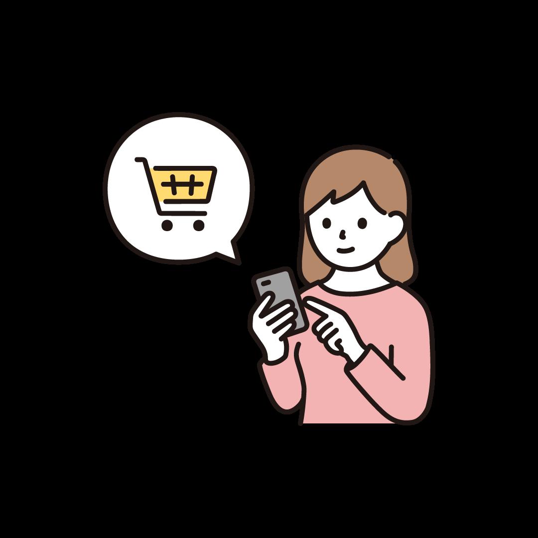 スマホで買い物をする女性のイラスト