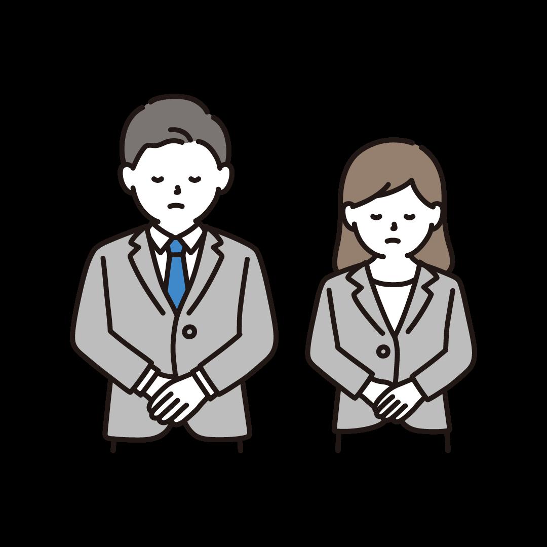 お辞儀・謝罪をする男女(上半身)