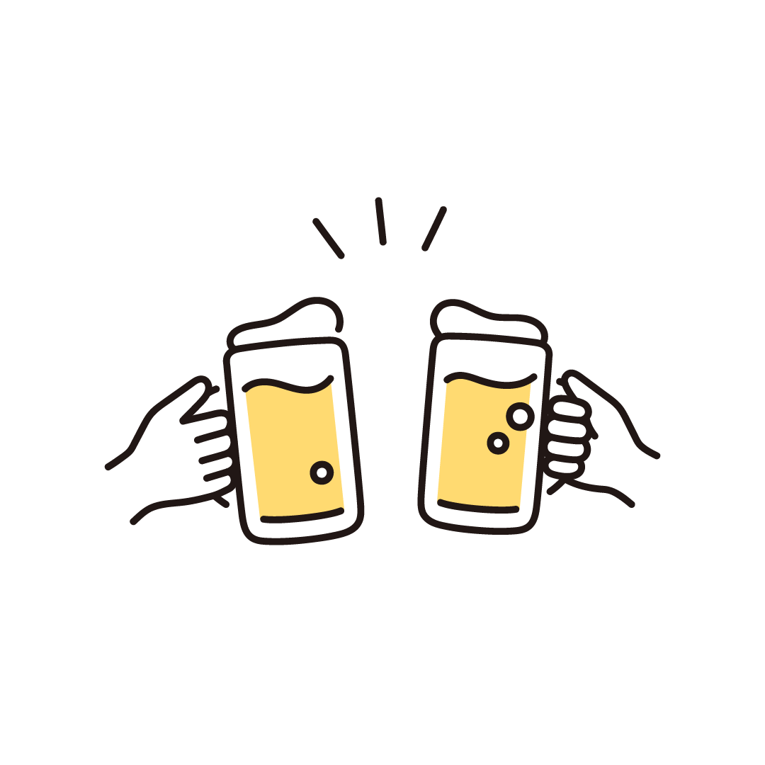 ビール(乾杯)のイラスト