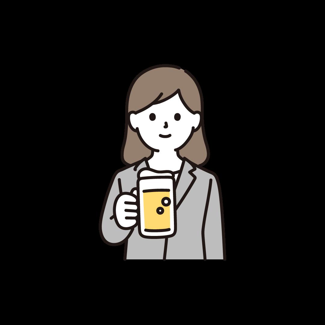 ビールをもつ女性のイラスト