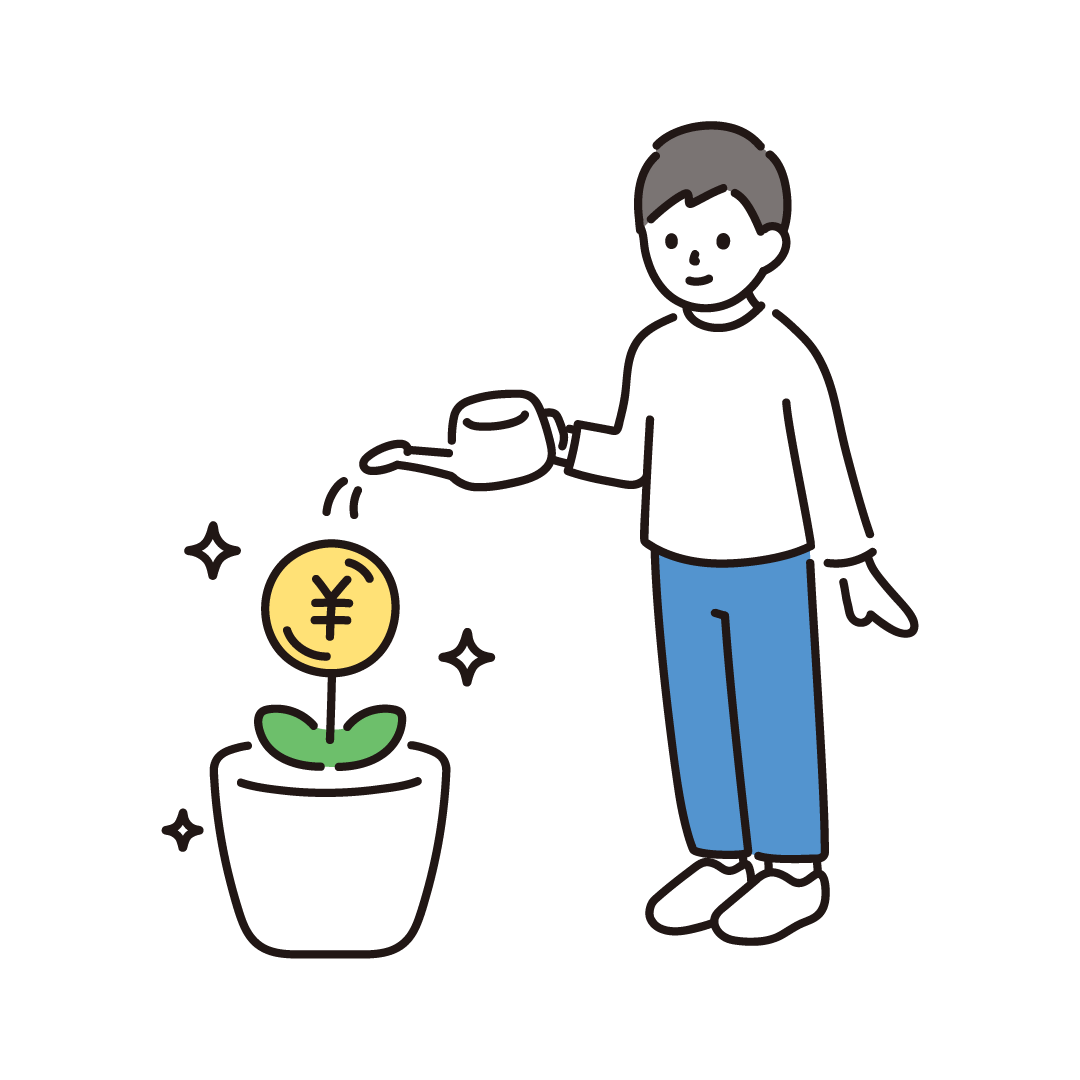 投資をしている人のイラスト
