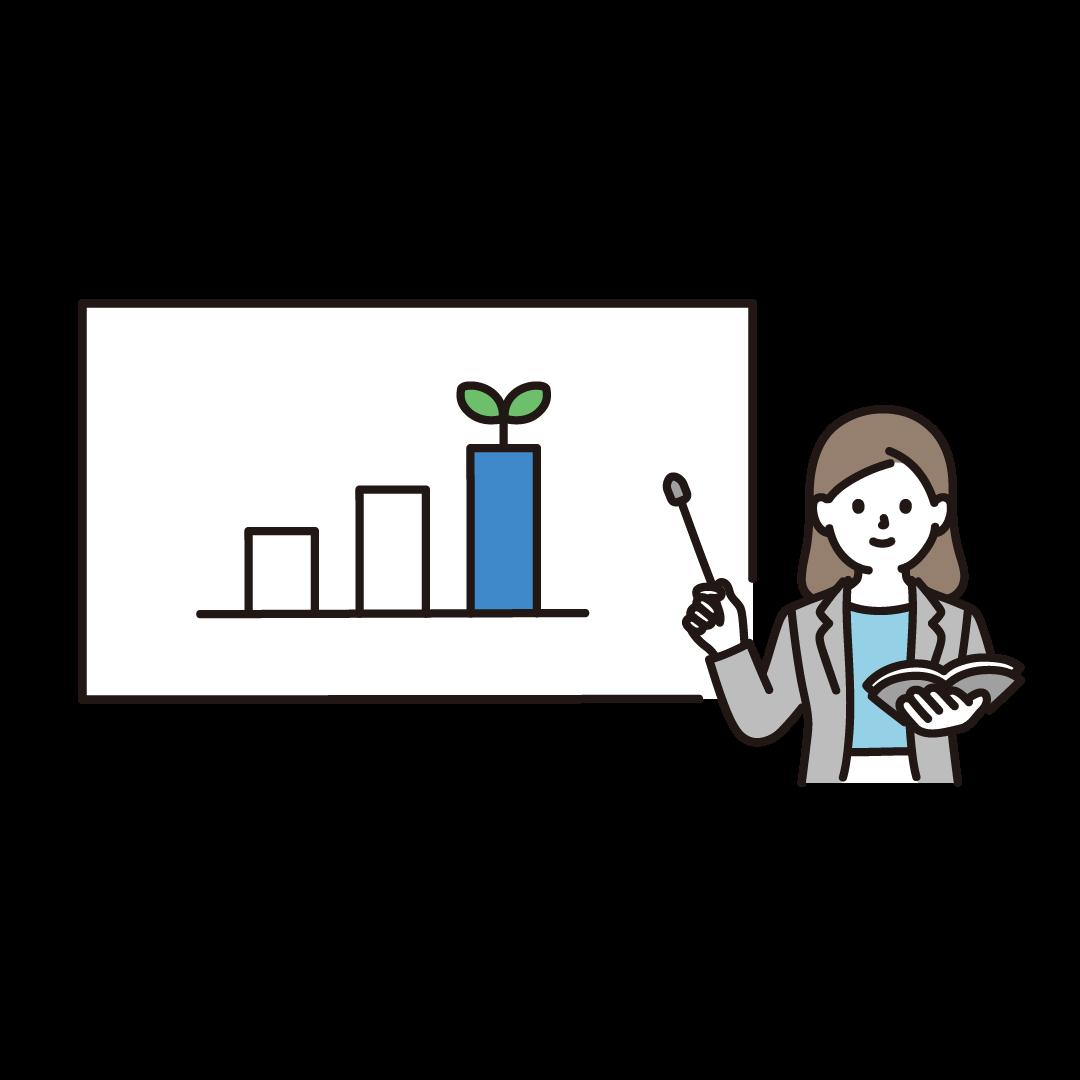 投資の説明をする人のイラスト