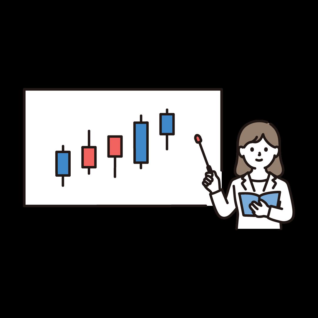 株の説明をする人のイラスト