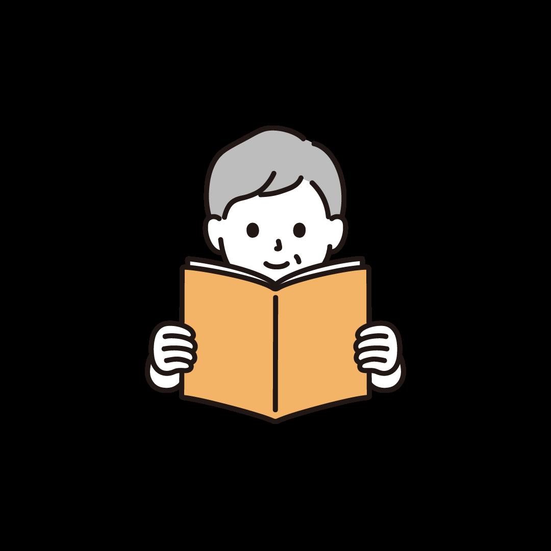 本を読むシニア女性のイラスト