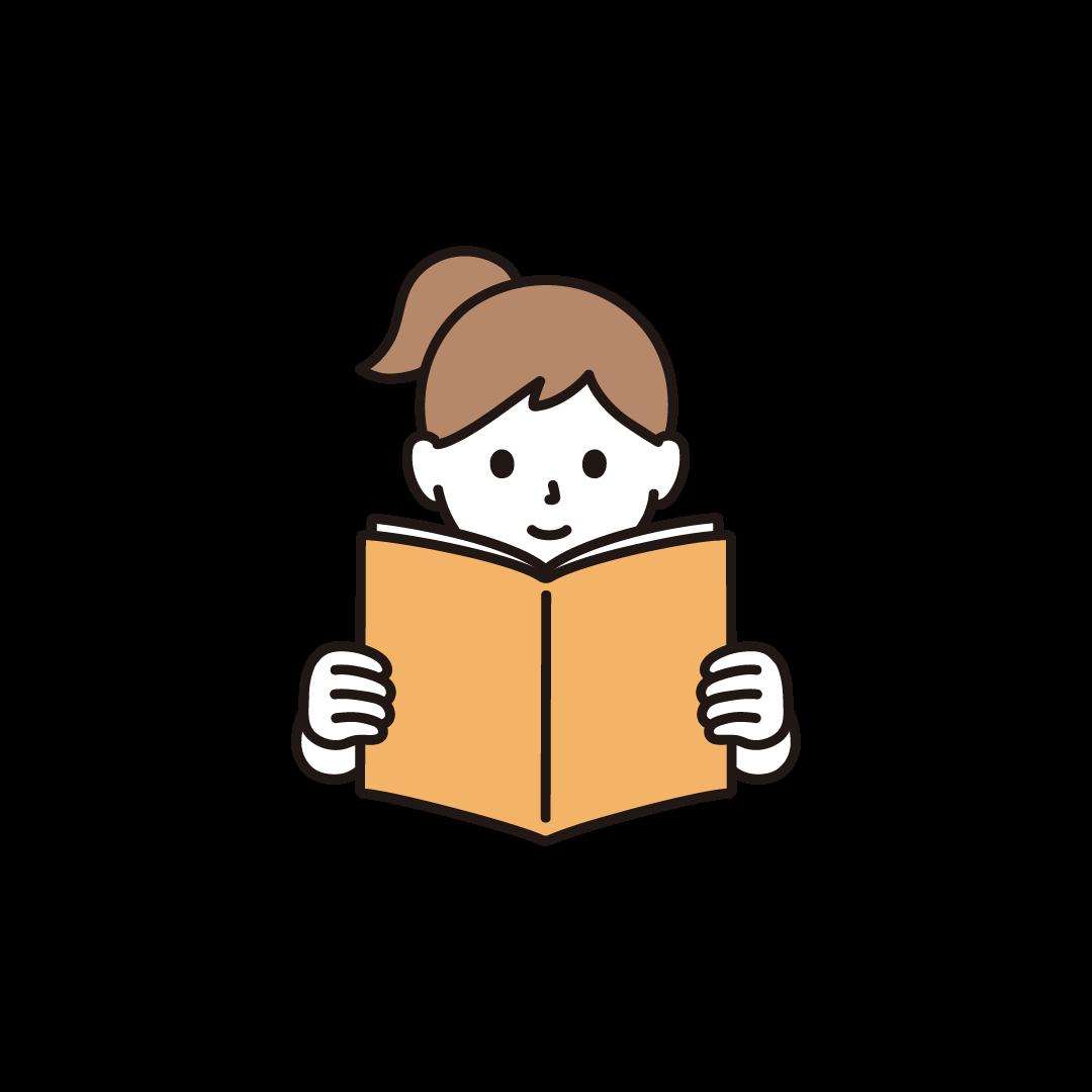 本を読む女の子のイラスト