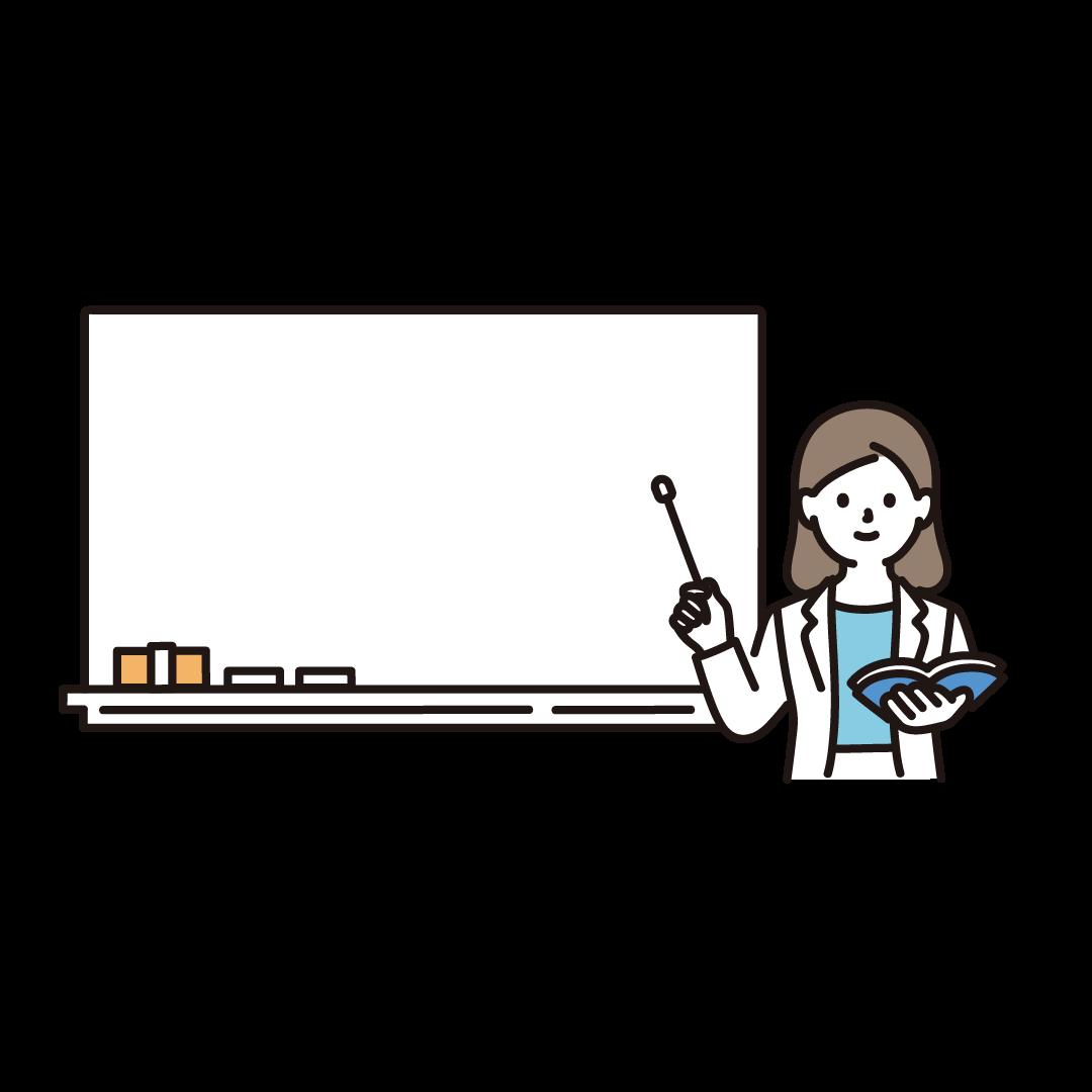 黒板と先生(女性)のイラスト