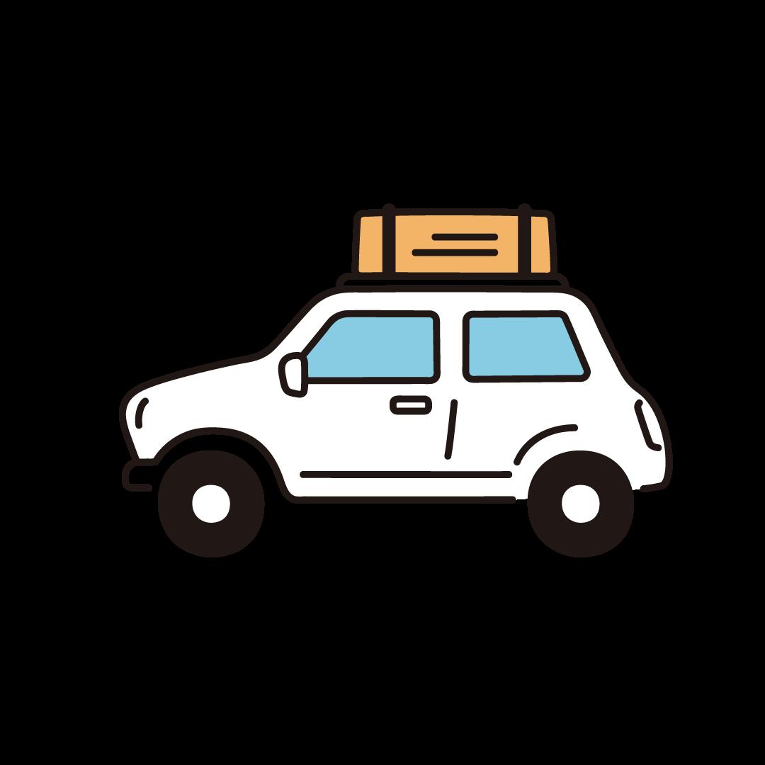 屋根に荷物を積んだ車のイラスト