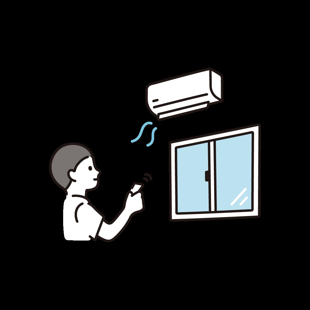 エアコンをつける人のイラスト