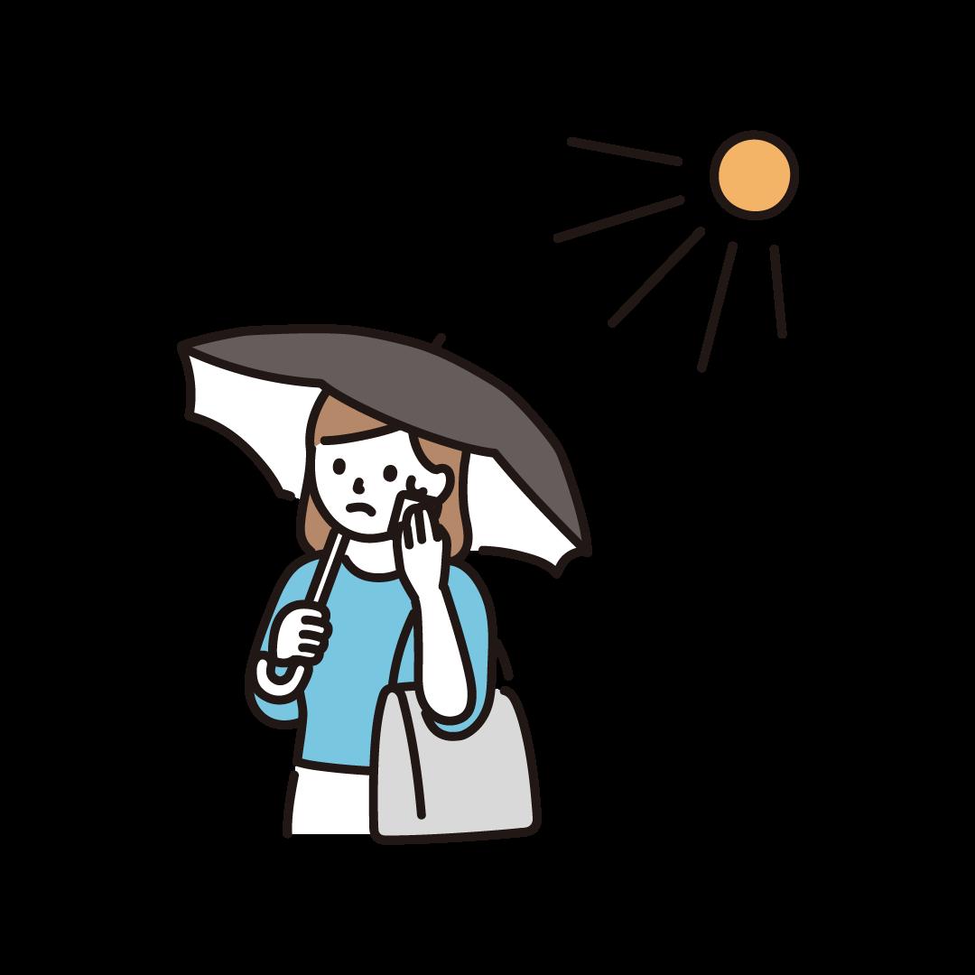 日傘をさす女性のイラスト