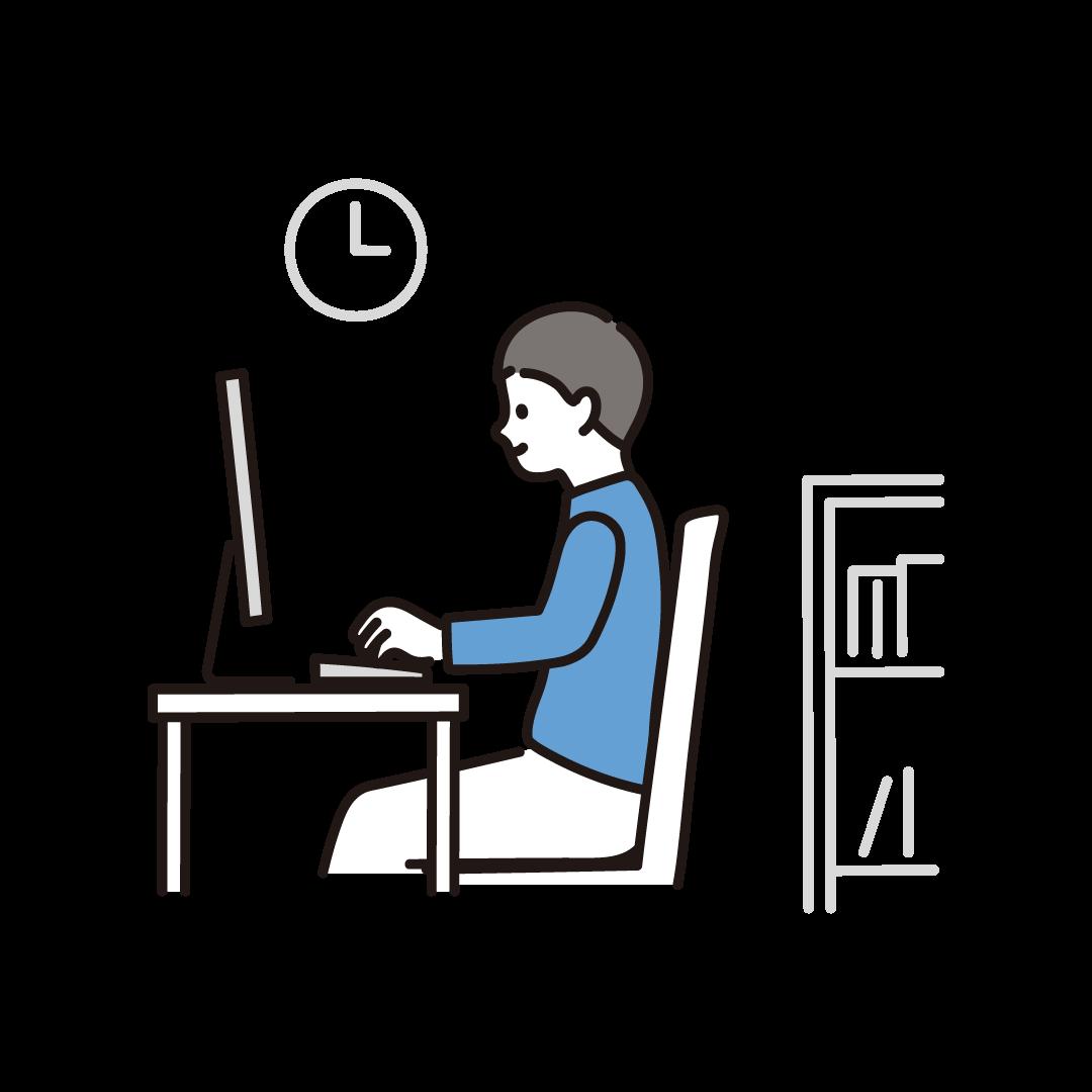 リモートワークをする男性(横)のイラスト