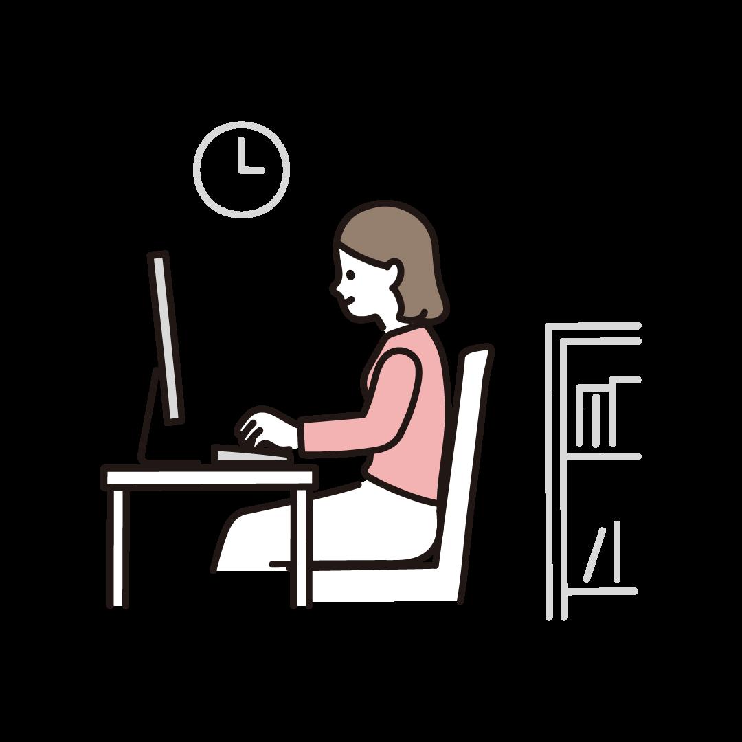 リモートワークをする女性(横)のイラスト