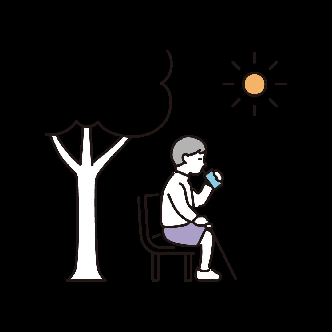 日陰・ベンチで休憩する人のイラスト