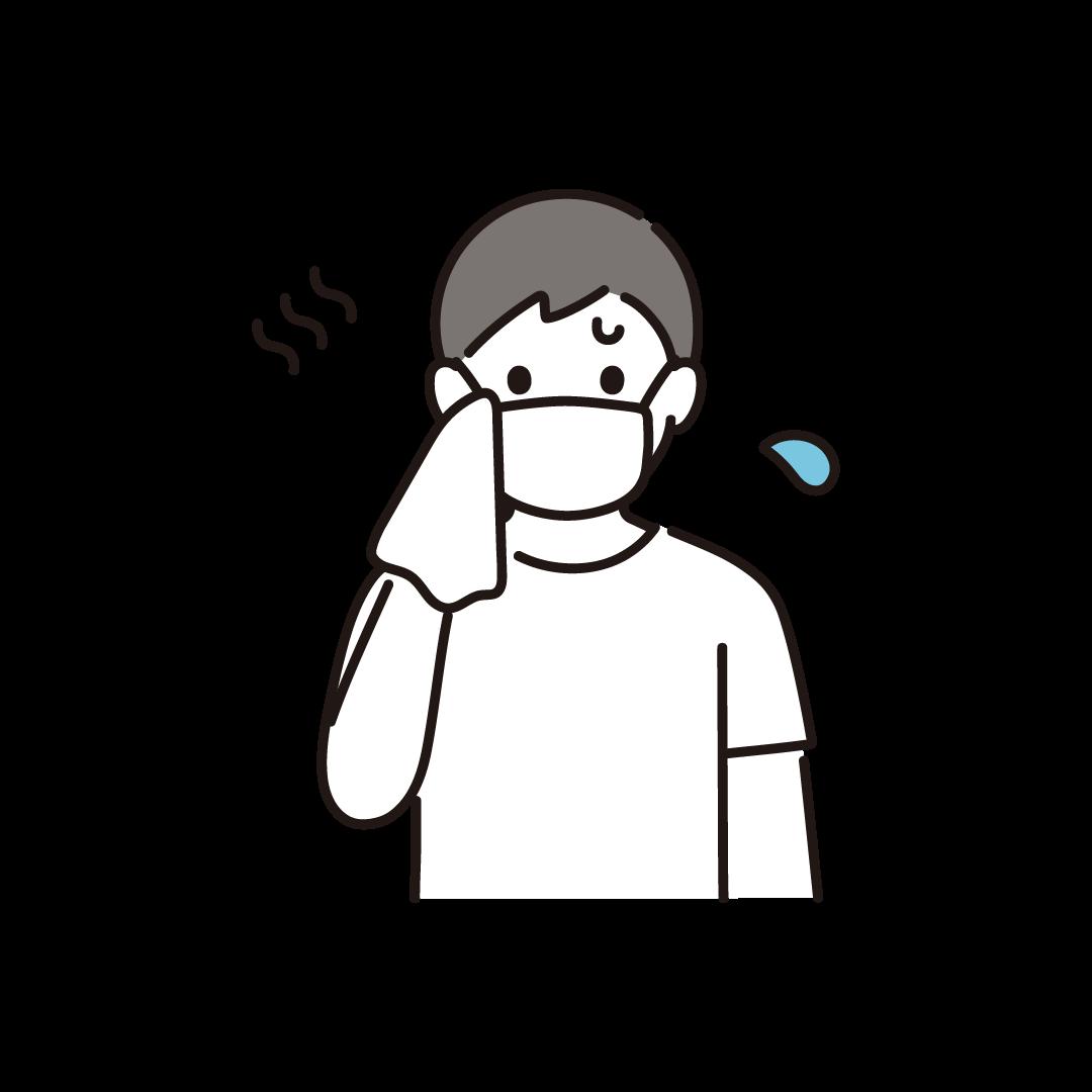 汗を拭く男性(マスク)のイラスト