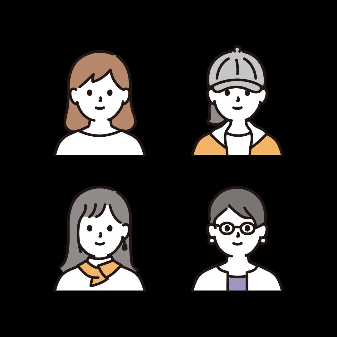 いろいろな女性(顔)のイラスト
