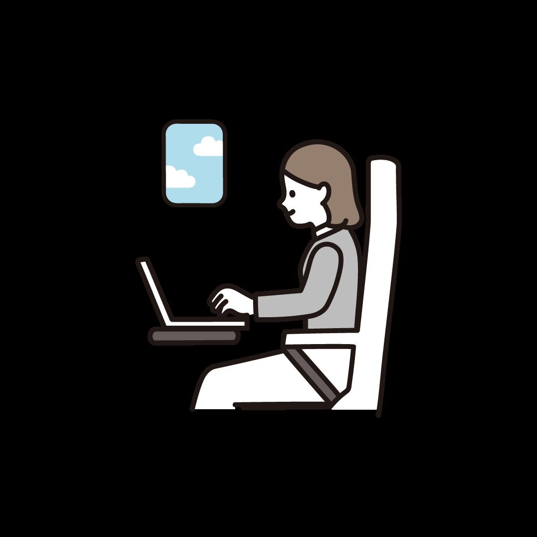 リモートワーク・飛行機(女性)のイラスト