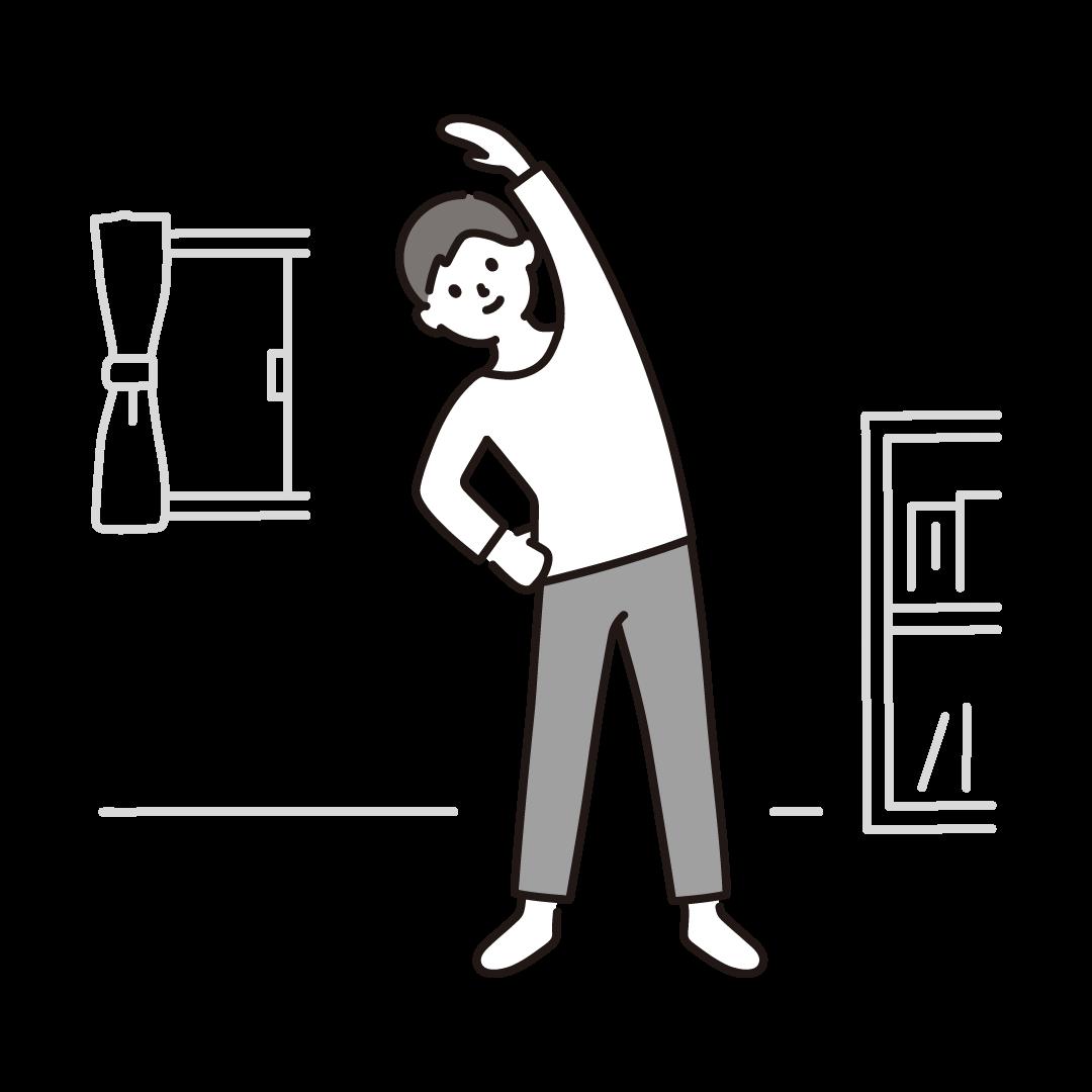 自宅で体操をする男性のイラスト