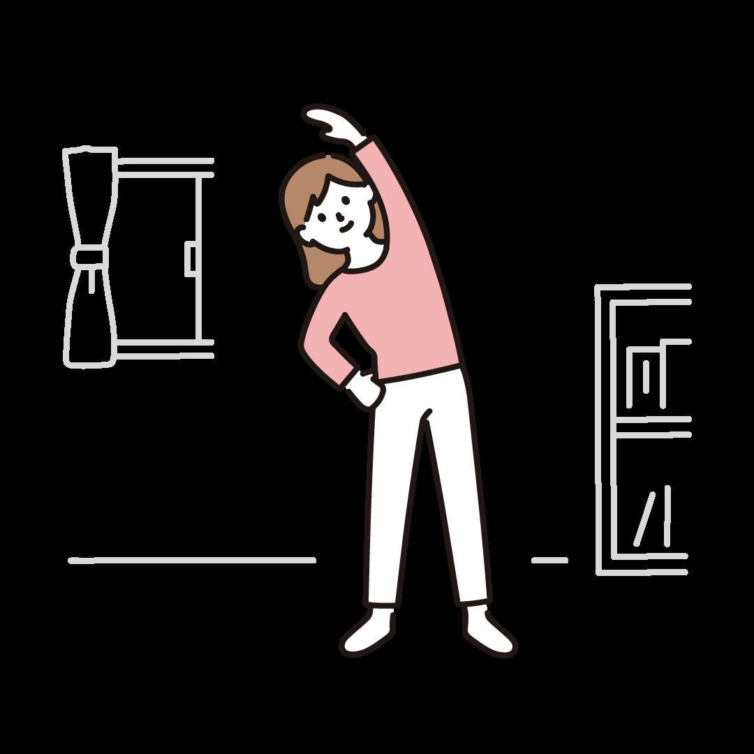自宅で体操をする女性のイラスト