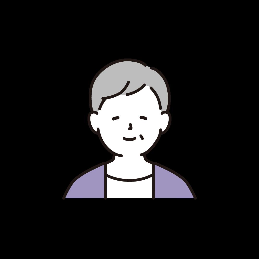 高齢者の女性(上半身)のイラスト