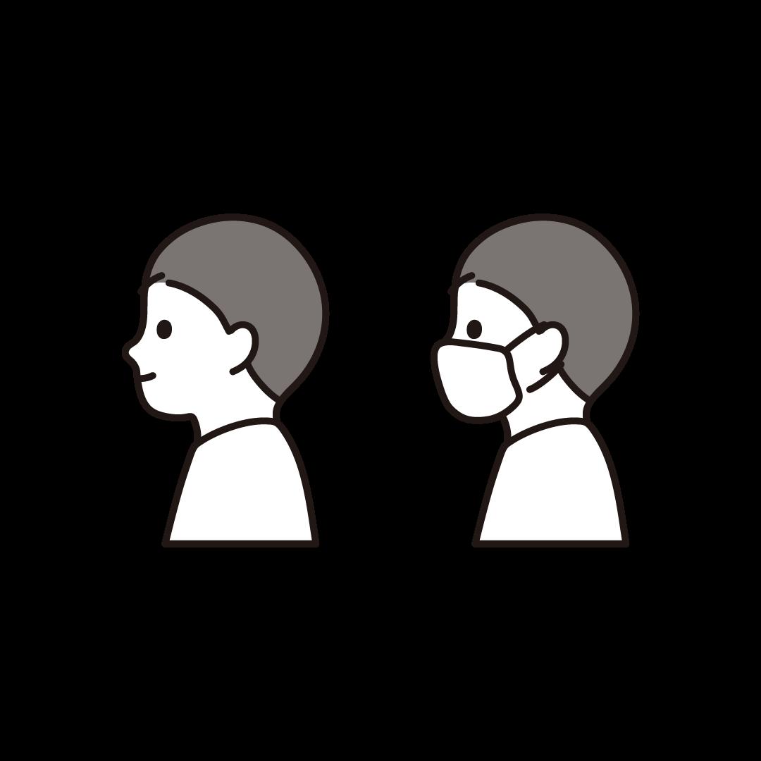 横向きの男性(マスクあり・なし)のイラスト