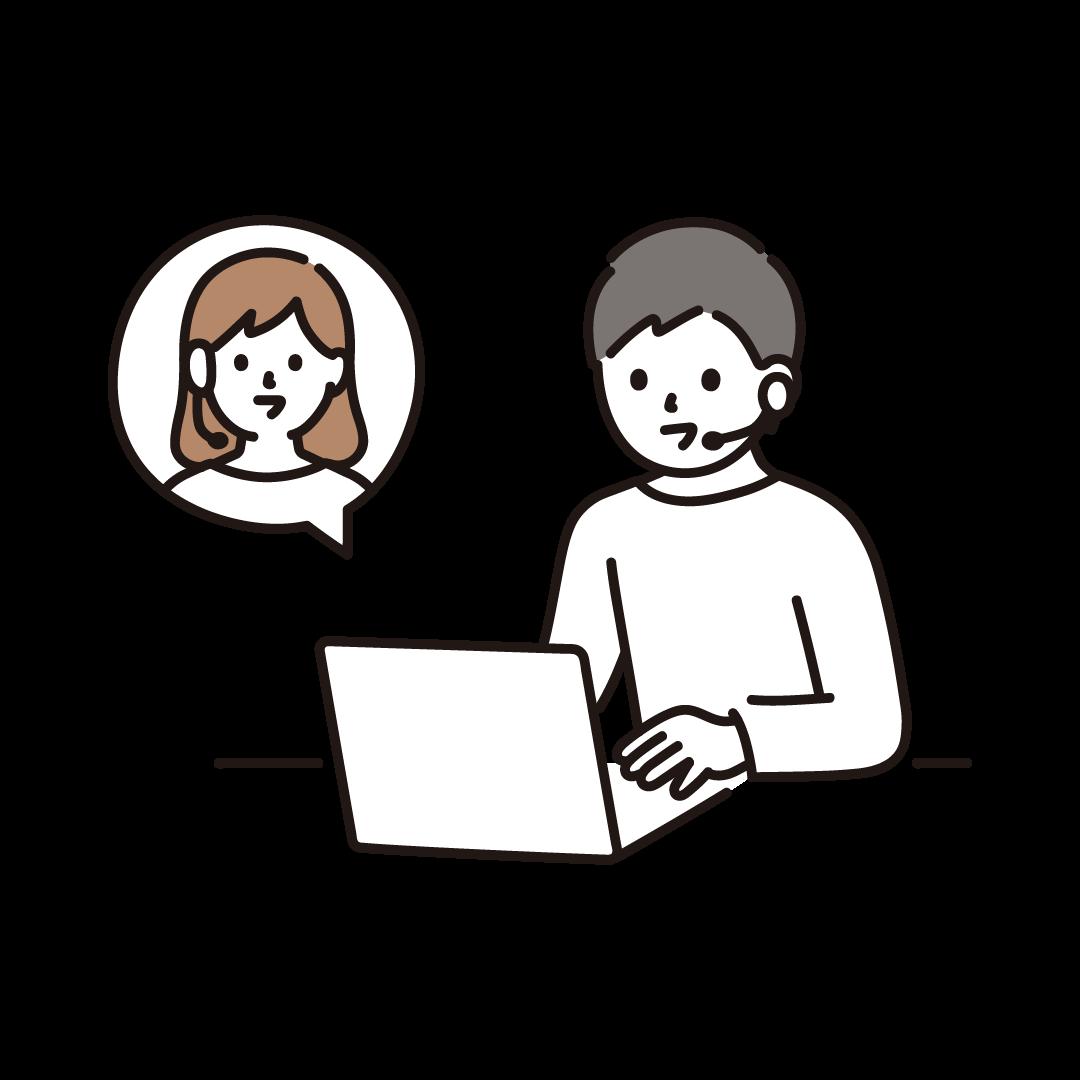 リモートで会話をする男性のイラスト