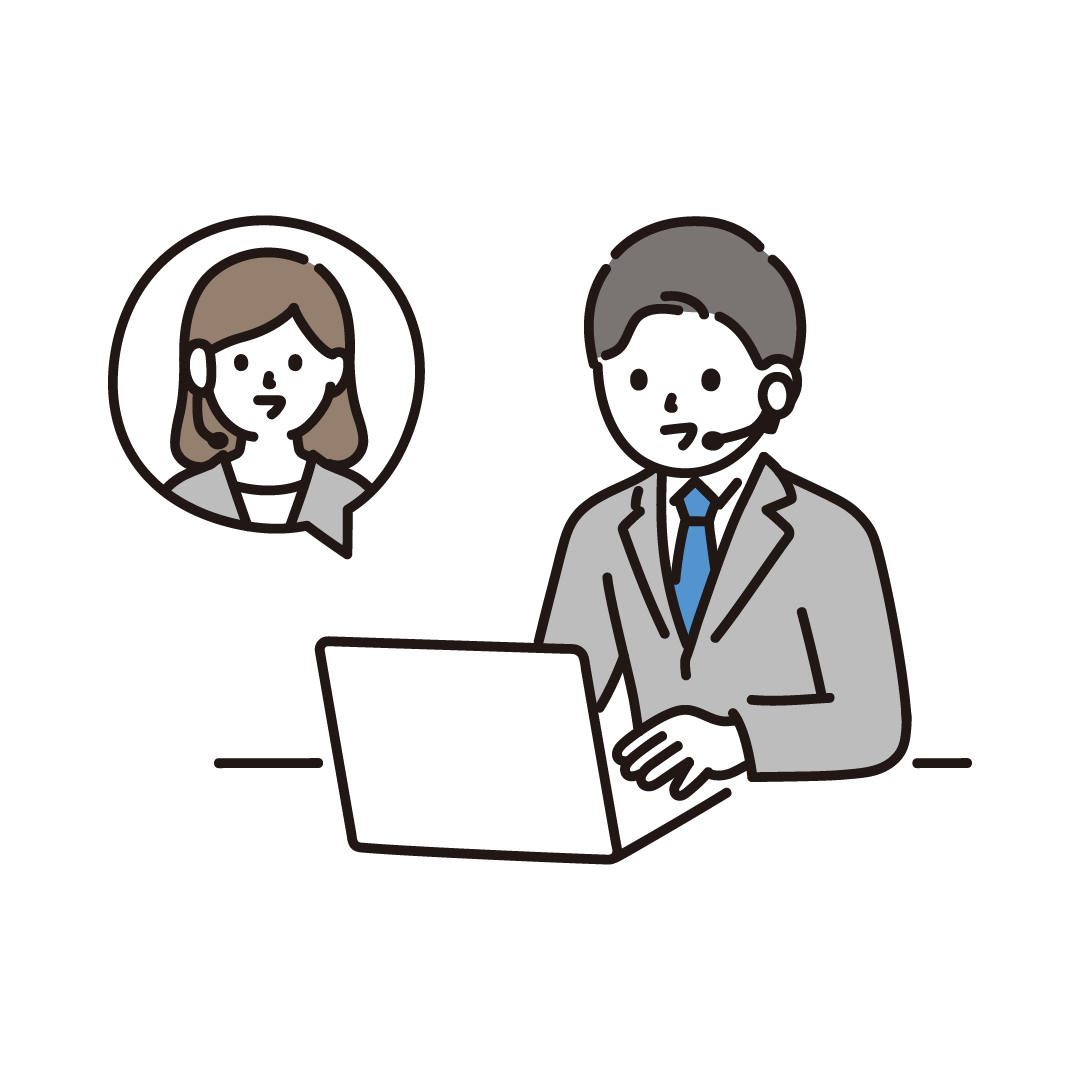 リモートで会話するビジネスマンのイラスト