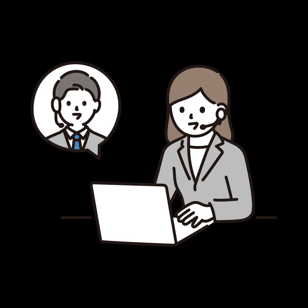 リモートで会話するビジネスパーソンのイラスト