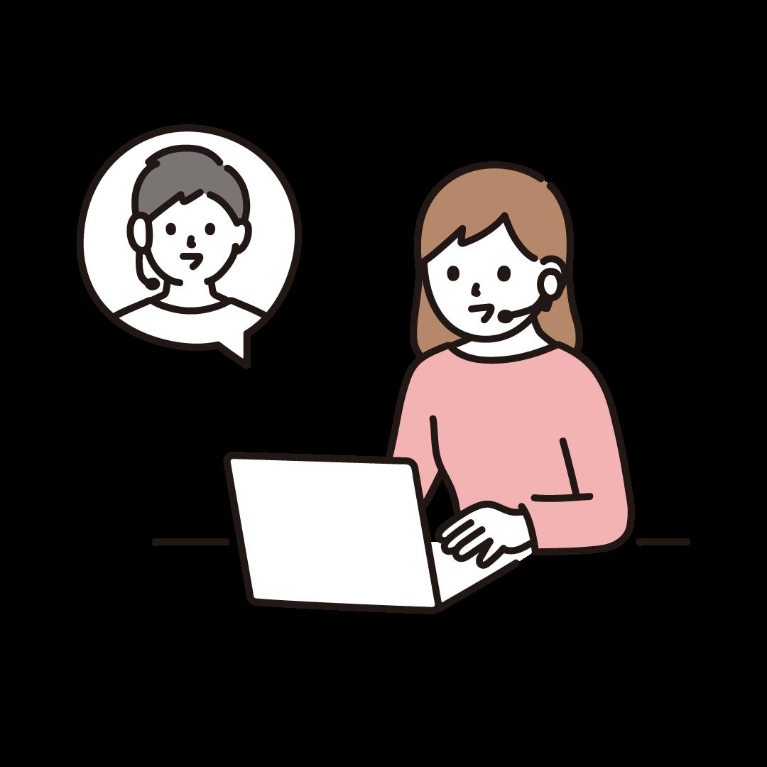 リモートで会話をする女性のイラスト