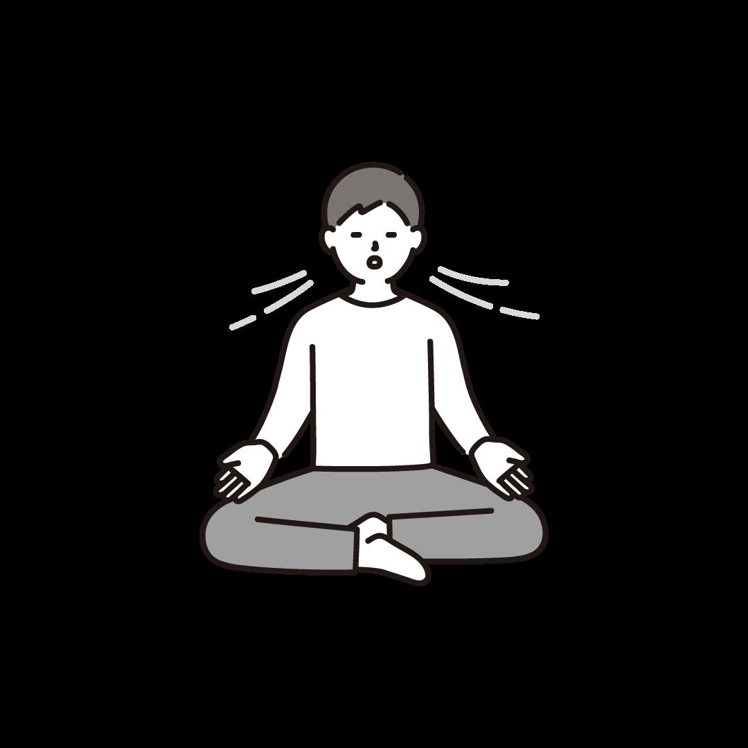 ヨガ(めい想)をする男性のイラスト
