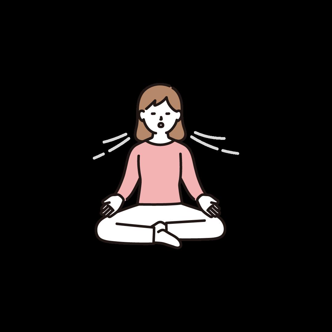 ヨガ(めい想)をする女性のイラスト